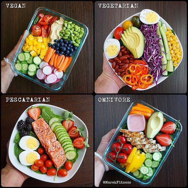 3.🌈No matter what type of eater you are you can always eat your colors!🌈 Here are some 🥗 creations : 💚Vegan 💙Vegetarian 💜Pescatarian ❤️Omnivore . . . Which one do you prefer?